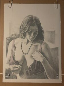 Brassiere John Hardy Lithograph Signed Litho 1970s Naked Woman Poster Pinup