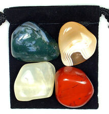 DIGESTIVE SYSTEM REGULATOR Tumbled Crystal Healing Set = 4 Stones + Pouch + Card