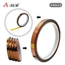 4 Rolls 10mm X 33m Heat Resistant Tapes For Sublimation Paper Transfer Teflon