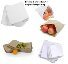 More details for brown & white kraft / sulphite strung paper bags food sandwich grocery bag