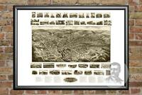 Old Map of Bristol, CT from 1906 - Vintage Connecticut Art, Historic Decor