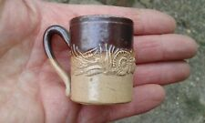 More details for  early unusual miniature size salt glazed tankard with applied spriggs c1840.