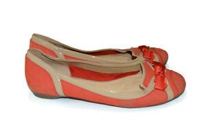 DIANA FERRARI Peach / Beige Leather Ballet Flat Slip On Demelza Shoes Size 8