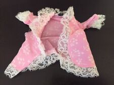 Vintage Barbie Tagged Pink Top Open Front Floral with Lace Trim