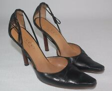 GUCCI Black Leather Pointed Toe Heels Shoes Sz 6.5  US / 36.5 C EUR