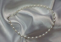 White Pearl Silver Ankle Bracelet -Your Size (2879)