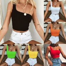 Women Ladies Sexy Single Shoulder Crop Top Casual Sport Bra Slim Camis Tank Vest