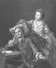 Shakespeare Actor DAVID GARRICK & WIFE, 1855 William Hogarth Art Print Engraving
