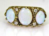Chunky Opal Trilogy & Diamond 9ct Yellow Gold Ring size P ~ 7 3/4 US