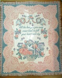 Tapestry Throw Blanket Fringe Flowers Birds Cottagecore Goodwin Weavers 50x60