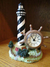 """Light House With Working Clock Statue Figurine Resin 8"""" Tall 5 1/2"""" Wide"""