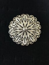 Vintage Silver Filigree Brooch Art Deco Floral Lace Open Pierced Round Large Pin