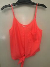 Foreign Exchange Summer Hot Peach Tank, Cami Straps Top Sz. Small