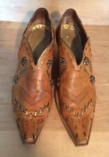 BCBG GIRLS Ankle Cowboy Boots Embellished Brown Leather Western Pointy Womens 10