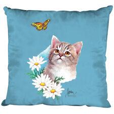 Deko- Kissen mit Fuellung 40 cm mit Print Katze mit Schmetterling KA082 hellblau