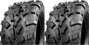 "Two New Front 25x8-12 TRAILMAX TIRE SET ATV TIRES 25"" 25x8x12"