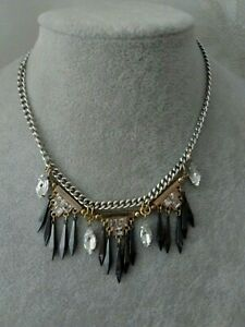 M&S Silver Gold Metallic Tone Clear Rhinestone Tribal Pendant Costume Necklace