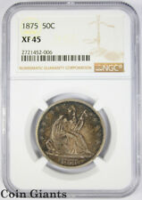 1875 Seated Liberty Half Dollar NGC XF 45 Choice Toning Silver Early Type Coin