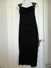 Womens Plus Size Dress Gown Prom Dress Black Chiffon Queen Ann Neckline 22W