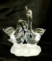 Crystal Swans Hand Blown Vtg Glass Art Birds Figurine Frosted Glass Base