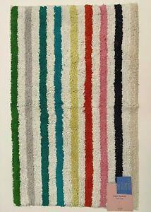 NWT Kate Spade New York Candy Stripe Rainbow Cotton 21 x 34 Bath Rug Mat Modern