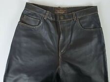 A&S SELECTIONS Men's 30X31 Brown Leather Pants Zipper Straight Leg