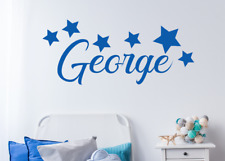 Personalised Name With Large Stars Wall Sticker For Boys Bedroom Wall Art AG12