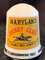 Thimble Maryland Jockey Club Gamble Bros. Newark NJ Porcelain Sewing Vintage