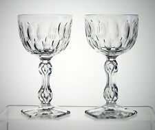 "QUEEN ANNE VAL ST LAMBERT 6 3/8"" Water Goblets Unsigned, PAIR, aka DUMORTIER"