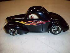 1:18 SCALE SHYNE RODZ 1941 WILLYS COUPE DIE-CAST CAR BLACK WITH FLAMES