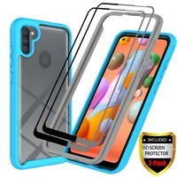 For Samsung Galaxy A11 A21 Case Shockproof TPU Hybrid Cover+Full Tempered Glass