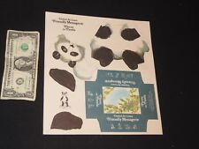 1972 UNITED AIR LINES GIVEAWAY PAPER TOY FRIENDLY MENAGERIE PIERRE THE PANDA