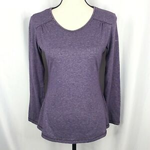 Columbia Top Womens Small Purple V-Neck T-Shirt Outdoor Hiking Poly Cotton Blend