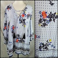 John Paul Richard Plus Womens size 2X Floral Tunic Blouse Peasant Top tassel