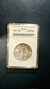 1941 P Walking Liberty Half  ANACS MS63 UNCIRCULATED 50C Coin Starts At 99 Cents