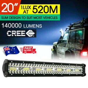 CREE LED Light Bar 20 inch Tri-row Spot Flood Combo Driving Offroad Truck 4WD