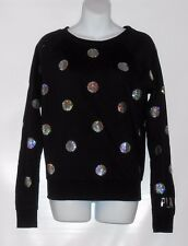 Victoria's Secret Pink Bling Sequin Polka Dot Sweatshirt Black & Silver XS RARE