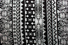Cotton Lycra Spandex Ethnic Print White Black Apparel Fabric Clothing BTY