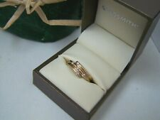 STYLISH 9CT GOLD SIMULATED DIAMOND ENGAGEMENT DRESS RING SIZE L 5.5 HEAVY RARE