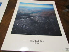 """VINTAGE NEW YORK TWIN TOWERS SPACE GRAPHICS POSTER 16""""X20"""" PHOTO NASA LAMINATED"""