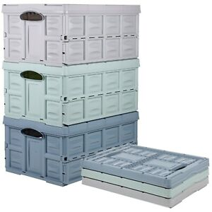 Large 45L Folding Collapsible Plastic Storage Crate Box Stackable Baskets Garage