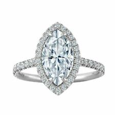 2.65ct Halo White Marquise Cut Diamond Engagement 14K White Gold Ring