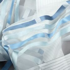 Meterware halbtransparent Vorhangstoff Dekostoff Streifen blau