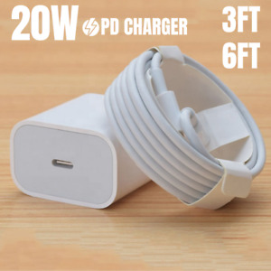 For iPhone 12 11 Pro Max XR 20W Power Adapter Fast Charger PD Cable USB-C Type-C