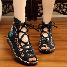New Old Beijing Lace-up National Style Embroidered Flat Heels Fishmouth Sandals