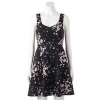Lauren Conrad Black Pink Floral V Neck Sleeveless Fit & Flare Dress S CLEARANCE