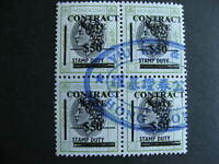 Hong Kong revenue contract note $50 value block of 4 used, check it out!