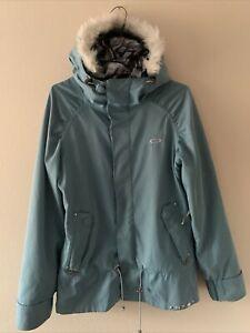 Oakley GB Gretchen Bleiler Blue Fur Down ski snowboard Jacket Women's Size XS
