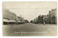 RPPC First Street in LITTLE FALLS MN Vintage Minnesota Real Photo Postcard