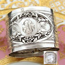 """Antique French Sterling Silver Napkin Ring: Bow, Ribbon, Floral & Acanthus, """"AT"""""""
